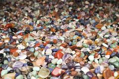 Natural background - pile of semi precious jewelery stones closeup. best for craftmanship. Interior design royalty free stock photo