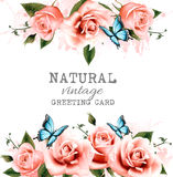 Natural background with roses. vector. Stock Images