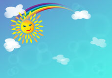 Natural background with Sun, rainbow and clouds in spring or summer day. Natural background with Sun, rainbow and clouds, in summer or spring day. Seasonal card Stock Photos