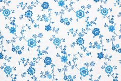 Natural background texture in horisontal position. A Natural background textile texture with blue flowers in horisontal position Stock Photos