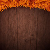 Natural background with wooden board and autumn leaves. Vector i Stock Photography