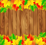 Natural background with wooden board and autumn. Leaves. Vector illustration Royalty Free Stock Photo