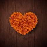 Natural background with wooden board and heart made of autumn l. Eaves. Vector illustration Stock Photos