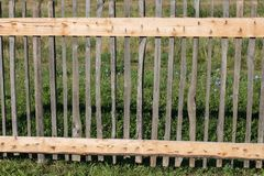 Fence from picket fence. Natural background of wooden fence made of boards stock image