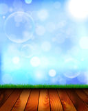 Natural background with wooden floor, grass and sky Royalty Free Stock Photos