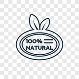 100 natural badge concept vector linear icon isolated on transparent background, 100 natural badge concept transparency logo in o. 100 natural badge concept vector illustration
