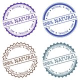 100% natural badge isolated on white background. Flat style round label with text. Circular emblem vector illustration Royalty Free Stock Photos