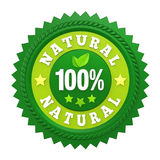 100% Natural Badge Label Isolated. On white background. 3D render Stock Images