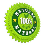 100% Natural Badge Label Isolated. On white background. 3D render royalty free illustration