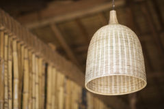 Natural bamboo interior design lampshade detail Stock Photography