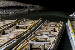Natural bamboo rafts with passenger seats Stock Photos
