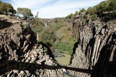 Basaltic prisms in Huasca de Ocampo. Natural basaltic prism formations in Huasca de Ocampo, Hidalgo, Mexico stock photo