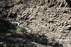 Basaltic prisms in Huasca de Ocampo. Natural basaltic prism formations in Huasca de Ocampo, Hidalgo, Mexico stock photos