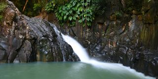Natural basin. Guadeloupe natural basin with waterfall stock photography
