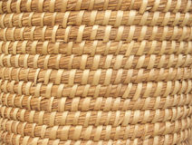 Natural Basket-weave Background. Basket-weave textural pattern, handmade with natural straw-colored grasses and reeds in coiled style Royalty Free Stock Image