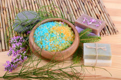Natural bath items stock images
