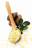 Natural bath salt. Spoon of bath salt and green leaves - beauty treatment Stock Photography