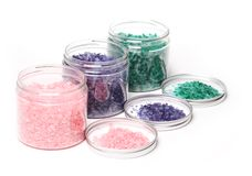 Natural bath salt in a boxes Stock Images