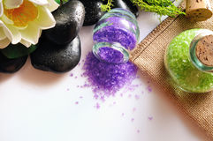Natural bath salts on white table top view Stock Photos