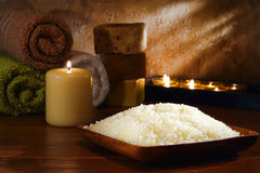 Natural Bath Sea Salts In A Relaxation Spa Stock Photo
