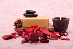 Natural bath soap and candle Stock Photo