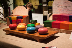 Natural bath soaps on display at Olis Festival in Milan, Italy Stock Photo