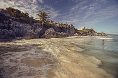 Natural beach of Tulum, Mexico. View of the beautiful beach of Tulum ruins in Mexico royalty free stock photo