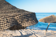 Natural Beach Umbrella (1). Natural Beach Umbrella with, Sky and Horizon Royalty Free Stock Photos
