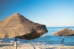 Natural Beach Umbrella (2). Natural Beach Umbrella with, Sky and Horizon Royalty Free Stock Photo