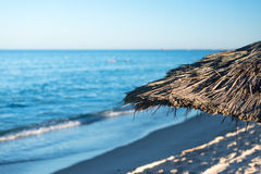Natural Beach Umbrella (3). Natural Beach Umbrella with, Sky and Horizon Royalty Free Stock Image