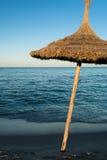 Natural Beach Umbrella (4). Natural Beach Umbrella with, Sky and Horizon Stock Image