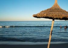 Natural Beach Umbrella (6). Natural Beach Umbrella with, Sky and Horizon Royalty Free Stock Photography