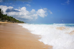 Natural beach. Water splashing at an empty beach at Dominican Republic Stock Photography