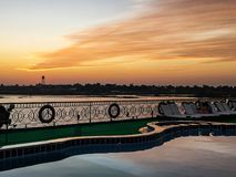 Natural beautiful sunset during a river cruise on the Nile. Egypt. Natural beautiful sunset during a river cruise on the Nile royalty free stock images