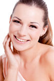 Natural beautiful woman face closeup portrait Royalty Free Stock Photo