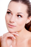 Natural beautiful woman face closeup portrait Stock Photo