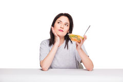 Natural beautiful young woman heaving a healthy fruit meal, isol Stock Image