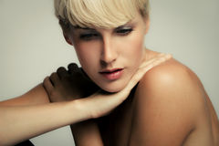 Natural beauty. Natural young blond woman beauty portrait, studio shot Stock Images