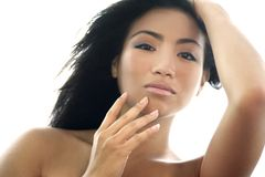 Natural beauty. Fresh faced Asian Beauty , skin  is very clear Stock Photo