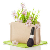 Natural Beauty. In cosmetics bag with make up brush Stock Image