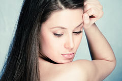 Natural beauty. Portrait of young brunette woman Royalty Free Stock Images