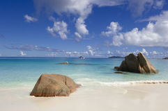 Natural beauty. Anse Lazio - popular beach with beautiful white sand and clear turquoise water, Praslin, Seychelles stock photography