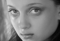 Natural Beauty. A black and white photo of a teenage girl's face Royalty Free Stock Photo