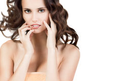 Natural Beauty. Attractive young woman with very fresh skin and beautiful brown hair in towe Royalty Free Stock Photos