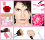 Natural beauty collage. Made of seven images.Young beautiful woman with light makeup, cosmetic products for skincare, perfume, concealer, foundation, powder royalty free stock images