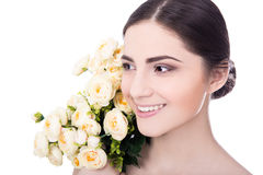 Natural beauty concept - close up portrait of young beautiful wo Royalty Free Stock Images