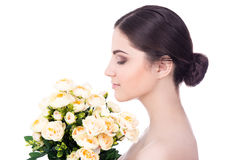 Natural beauty concept - side view of young beautiful woman with Royalty Free Stock Images