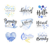 Natural Beauty Cosmetics Promo Signs Colorful Set Royalty Free Stock Photography