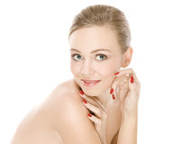 Natural beauty girl with good skin smiles Stock Photos