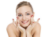 Natural beauty girl with good skin smiles royalty free stock photos